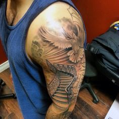 Half Sleeve Gates To Heaven Tattoo For Men With Flying White Dove