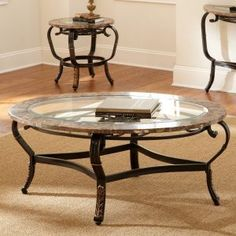 Tanner Round Coffee Table With Glass Top