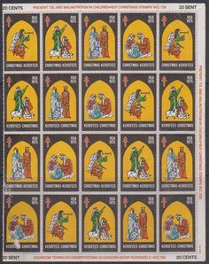 SA Christmas 1975 - Full Sheet Of 20 Stamps
