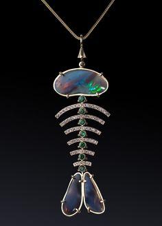 Suspension Fish. Opal 3-4.45-carat, 7-demantoid 7.1 carat, 64 carat tanzanite-1.36.