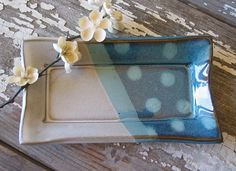 Butter Dish - Olive Dish - Serving - Kitchen Decor - White & Turquoise Polka Dot- Stoneware Pottery