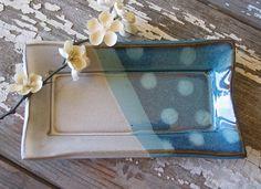 Butter Dish - Olive Dish - Serving - Kitchen Decor - White & Turquoise Polka Dot- Stoneware Pottery