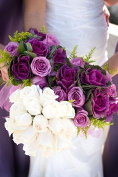 Southwestern wedding bouquet with purple roses and kale