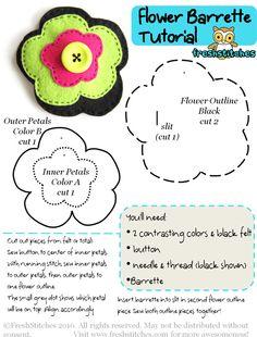 FreshStitches Flower Barrette pattern
