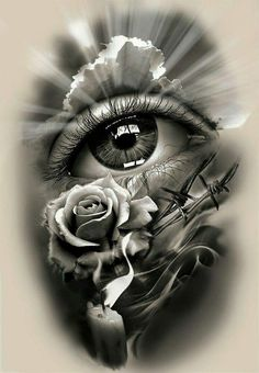 Tattoo Design, realistic eye with rose and candle. dessins de tatouage 2019 dessins de tatouage 2019 Tattoo Design, realistic eye with rose and candle. Skull Tattoos, Rose Tattoos, Leg Tattoos, Body Art Tattoos, Sleeve Tattoos, Tatoos, Tattoo Thigh, Ojo Tattoo, Tattoo Ink