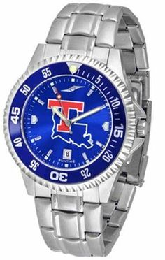 Louisiana La Tech Men's Stainless Steel Dress Watch by SunTime. $86.95. Louisiana Tech men's stainless steel watch. College dress watch with rotating bezel color-coordinated to compliment your favorite team logo. The Competitor Steel utilizes an attractive and secure stainless steel band. Perfect for any occasion, whether casual or formal. Goes great with game day attire. The AnoChrome dial option increases the visual impact of any watch with a stunning radial reflection s...