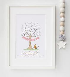 Personalised Winnie the Pooh Fingerprint Tree Baby Guestbook Alternative Print…