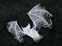 """Ghostly Baroque Bat, Iron On Patch, Renaissance, Wispy, Movement, Belfry, Halloween, Large 5"""" X 7"""", Biker, Tattoo, Motorcycle, Embroidered"""