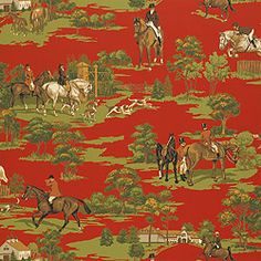 Equestrian –Wallpaper  Collection Castle Pine  Colorway Red  SKU T6345 #Thibaut