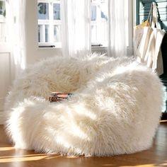 Ivory Furlicious Faux Fur Beanbags