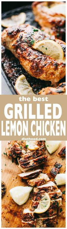 The Best Grilled Lemon Chicken Recipe – Perfectly tender, juicy, healthy lemon chicken marinated in a delicious lemon mixture, and prepared on the grill. (Whole Chicken Recipes) Healthy Grilling, Grilling Recipes, Cooking Recipes, Healthy Recipes, Healthy Meals, Grilled Lemon Chicken, Marinated Chicken, Greek Lemon Chicken, Easy Chicken Recipes
