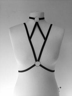 free shipping. Caged Body Harness Bra Bondage Lingerie Black Gothic Club Erotic Handmade Choker underwear vampire sexy