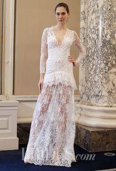 3ffa8ddf567f4 Tendance Robe du mariée 2017 2018 - A sheer lace Christos Costarellos  wedding dress with long sleeves