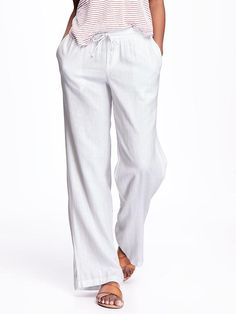 Wide-Leg Linen Pants for Women Product Image