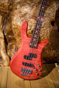 Framus & Warwick  Streamer LX 4 AAA Coloured Flamed Maple Red Front and Side LEDs Rosé Transparent HP