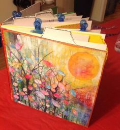 handmade duck tape art journal with leftover prints
