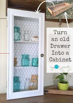 Old Drawer Cabinet - My Repurposed Life - #diymeuble - For a quick and easy DIY project for your home make and old drawer cabinet, using an old drawer and some trim moulding! This is a great weekend project.... My Furniture, Refurbished Furniture, Repurposed Furniture, Rustic Furniture, Furniture Makeover, Antique Furniture, Bedroom Furniture, Furniture Refinishing, Furniture Stores