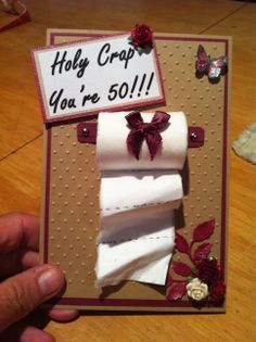 a fun 50th birthday card. Use a broken piece of a pencil to roll toilet paper around. Use hot glue gun to attach. Or use silver crayon to have the silver ends to be toilet paper holder. I personally think this is funnier for men. paper cakes on cards - Google Search