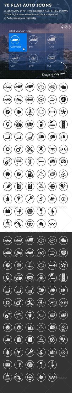 Buy 70 Flat Auto Icons by valery_medved on GraphicRiver. Source PSD, AI, EPS and transparent white icons black icons (PNG)Well organized. Digital Dashboard, Car Ui, Best Icons, Traffic Light, Icon Set, Icon Design, Ui Design, Luxury Cars, Graphic Design