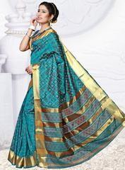 7898b9713b4a Rama Green Color Art Silk Designer Party Wear Sarees : Alka ...