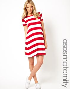 ASOS Maternity Exclusive Jersey Swing Dress in Stripe