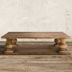 """Constructed of solid reclaimed pine, the Arhaus Hudson 60"""" Rectangle Coffee Table in Natural showcases balustrade legs & natural distressing."""
