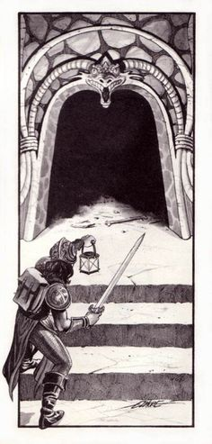 oldschoolfrp:  Entering the dungeon. Larry Elmore, from the Frank MentzerD&D Basic Rules Set:Players Manual, TSR, 1983.