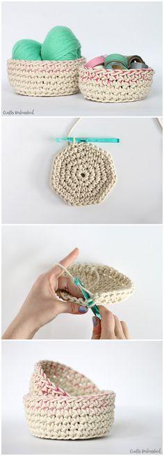 Color Block Crochet Basket Pattern