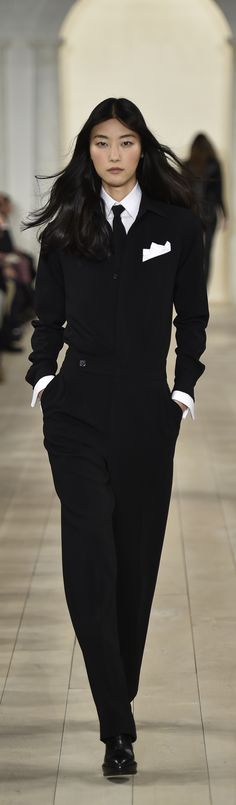 Ralph Lauren Collection Fall 2015: A women's evening jumpsuit in black wool crepe