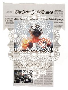 Intricately Cut Paper Patterns Across Newspaper Headlines.
