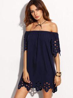 navy off the shoulder dress, spring summer blue dress, cold shoulder dress with lace trim - Lyfie