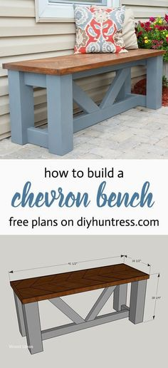 FREE PLANS - Build a Wooden Chevron Topped Bench! wood projects projects diy projects for beginners projects ideas projects plans Woodworking Furniture Plans, Woodworking Projects That Sell, Diy Wood Projects, Diy Woodworking, Woodworking Classes, Woodworking Machinery, Youtube Woodworking, Woodworking Magazine, Woodworking Techniques
