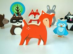 Woodland Animal Of Your Choice  Wooden Toy by Zooble on Etsy, $6.95