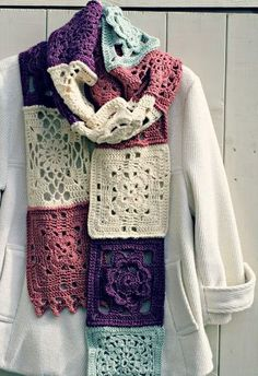 Buy Yarn To DIY http://www.aliexpress.com/store/1687168 Crochet granny square scarf