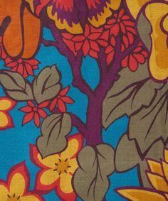 Turquoise Garden Print Linen Union, Liberty Furnishing Fabrics.