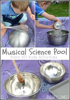 Musical Science Pool {Music Activities for Kids} Making music and exploring science with 101 Kids Activities book from And Next Comes L Preschool Music Activities, Kids Activity Books, Movement Activities, Preschool Science, Science Experiments Kids, Science For Kids, Movement Preschool, Summer Science, Steam Activities
