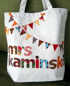 Scrappy Personalized Canvas Bunting Bag by kristyfey on Etsy, $20.00, Would make a great end of the year teacher gift, fill with magazines and sunscreen!