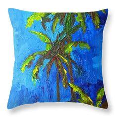 "Miami Beach Palm Trees in a blue sky Throw Pillow 14"" x 14""  #throwpillow #homedecor"