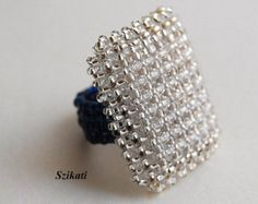 Eggplant Seed Bead Statement Cocktail Ring Art Beadwork by Szikati