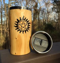 76a8d1a87ba Wooden Travel Mug for Supernatural Fan, Reclaimed Pine Coffee Mug with  Stainless steel interior