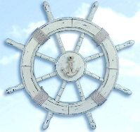 24 Inch Nautical Wooden White Ship Wheel : click to enlarge