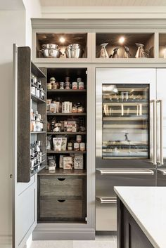 Tom Howley grey modern kitchen with pantry storage