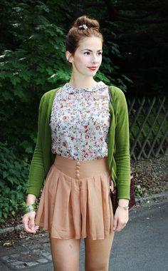 high waisted blush skirt, green cardigan, floral shirt