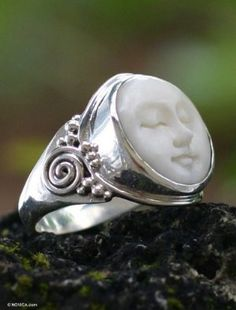 Cow bone ring, 'Face of the Moon' - The serene face of the moon inspires the captivating design of this ring by Buana. Expertly carved in cow bone, the moon enlightens an ornate sterling silver ring. Jewelry Rings, Silver Jewelry, Jewelry Accessories, Silver Rings, Jewelry Design, Unique Jewelry, Bone Jewelry, Gypsy Jewelry, Unique Rings