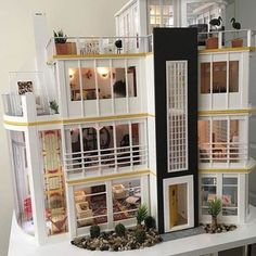 If you used to be obsessed - you know you once tried to make a DIY dollhouse - check out these 20 dollhouses that'll make you wish you could fit inside. Victorian Dollhouse, Diy Dollhouse, Dollhouse Miniatures, Dollhouse Design, Miniature Houses, Miniature Dolls, Modern Art Deco, Art Deco Home, Barbie Furniture
