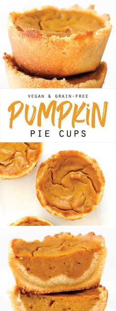These easy healthy Vegan & Grain-Free Pumpkin Pie Cups are just like your favorite fall or Thanksgiving dessert but in a smaller, 6 ingredient form!