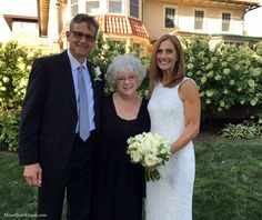 Officiant Zita Christian with newlyweds Neal and Donna at the New Britain Museum of American Art in New Britain, CT