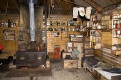 Interior of Shackleton's hut, Antartica left as it was in 1908. photo taken in 2009. Note the socks that have been hung up to dry for over a century.