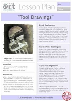 Level: High School Art Education Lesson Plan Art Elements: Value Art… Drawing Lessons, Art Lessons, Drawing Tools, High School Drawing, Art Education Lessons, High School Art Projects, Art Worksheets, Free Lesson Plans, Art Curriculum