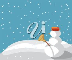 iCLIPART - Clip Art Illustration of a Snowman in the Snow, Winter Background